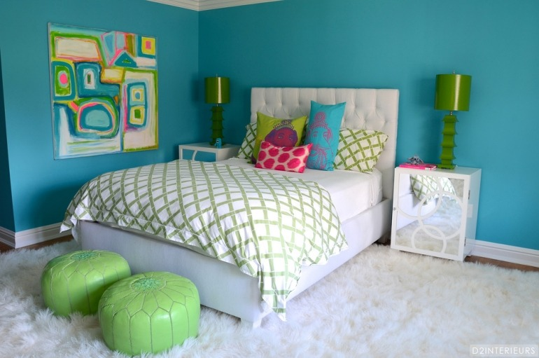 - Chambre turquoise et rose ...