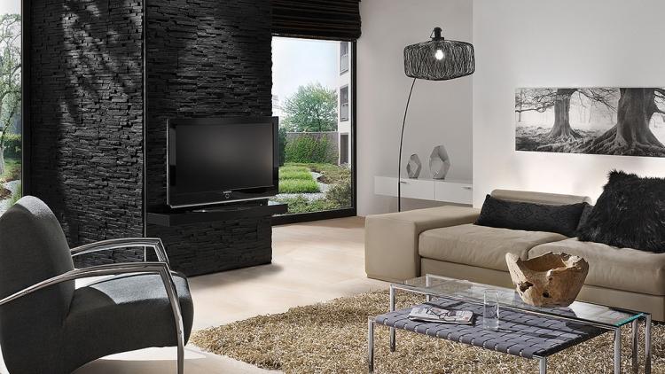 wohnzimmer ideen tv wand stein ~ dekoration, inspiration innenraum ...