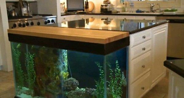 Встроенный аквариум с красивой подсветкой