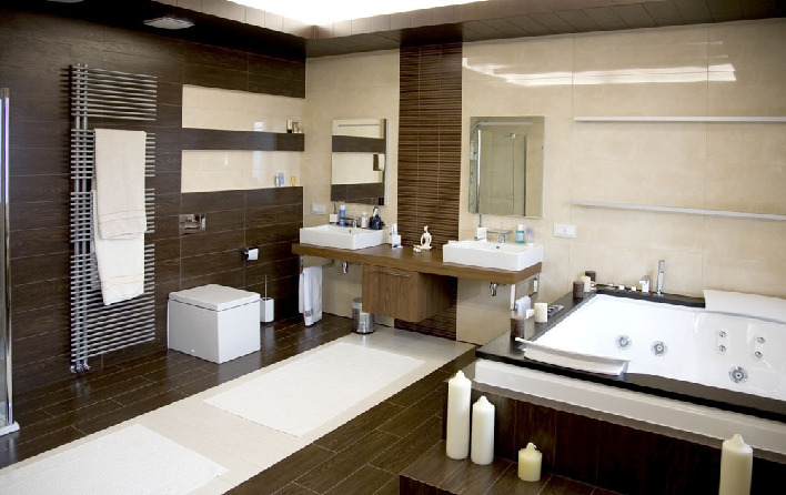 Мужская ванная со строгими линиями