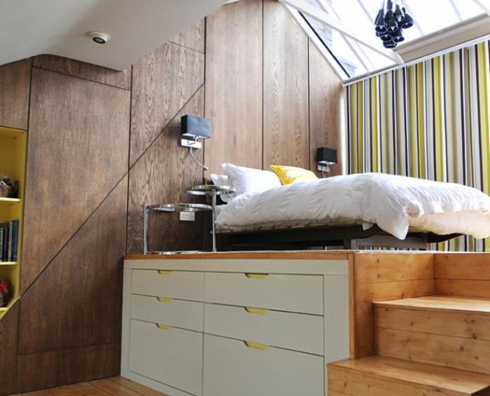 Двухъярусная кровать для взрослых с системой хранения