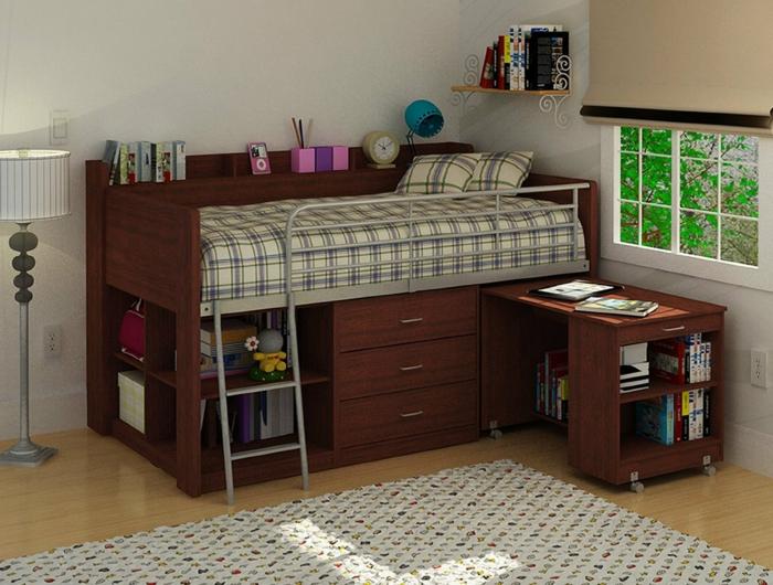 Двухъярусная кровать для взрослых для маленькой комнаты