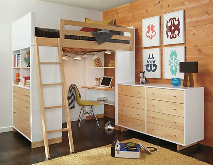 Деревянная двухъярусная кровать для взрослых с рабочим столом и ящиками