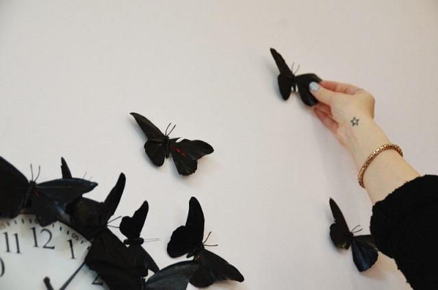schöne-Wanddeko-schwarze-Schmetterlinge-Ideen-Wand-verzieren