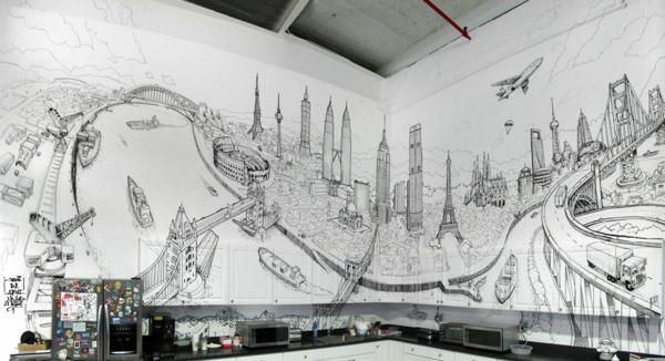 wandmalerei-ideen-Global-city