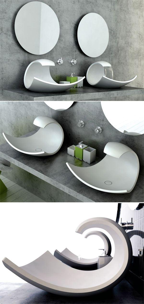 Загнутая раковина для ванной