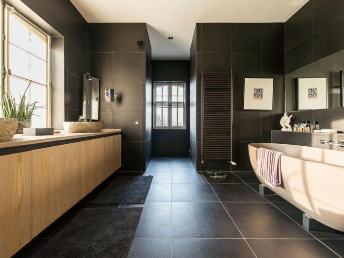 ванная в темном цвете современный дизайн