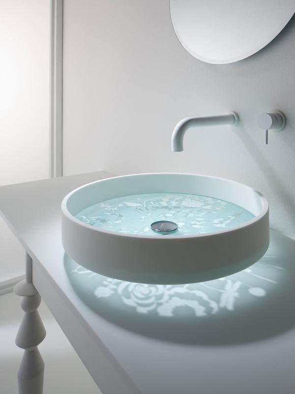 Круглая раковина для ванной со стеклянным дном