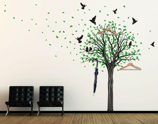 Наклейка на стену дерево с птицами