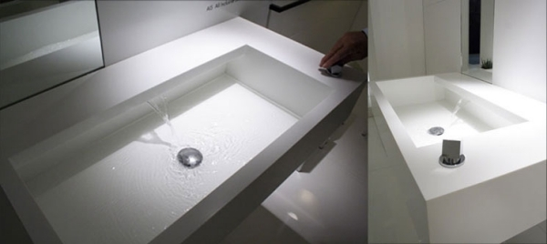 Прямоугольная раковина со скрытым краном