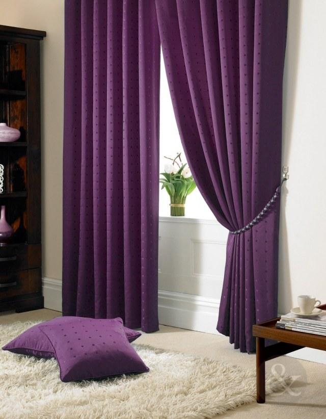 Длинные фиолетовые занавески с прихватом
