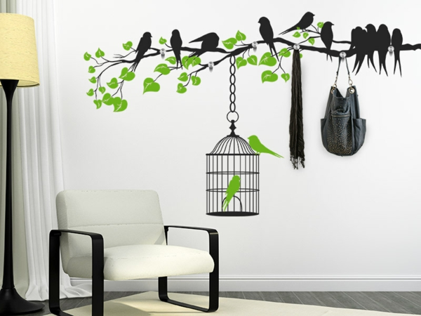 Наклейка на стену птицы на ветке и птица в клетке