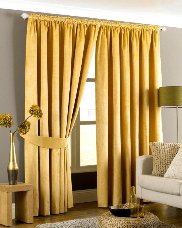 Желтые шторы с прихватом