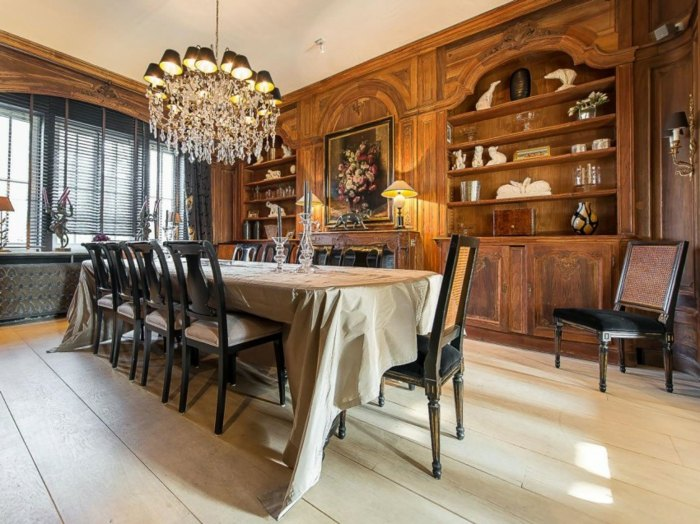 столовая в классическом стиле длинный стол