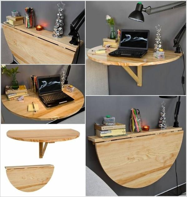 Круглый деревянный раскладной стол-консоль