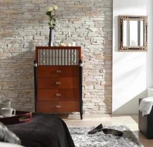 Оформление спальни искусственным камнем