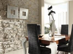 Светлый декоративный камень для отделки столовой