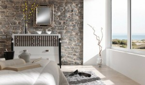 Темный искусственный камень в интерьере спальни