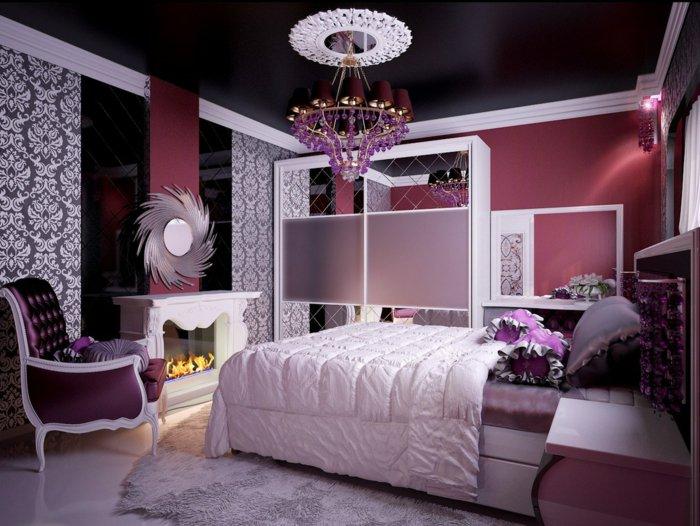 Цветные стены под черный потолок в спальне