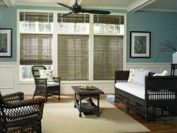Деревянная римская штора и мебель из ротанга