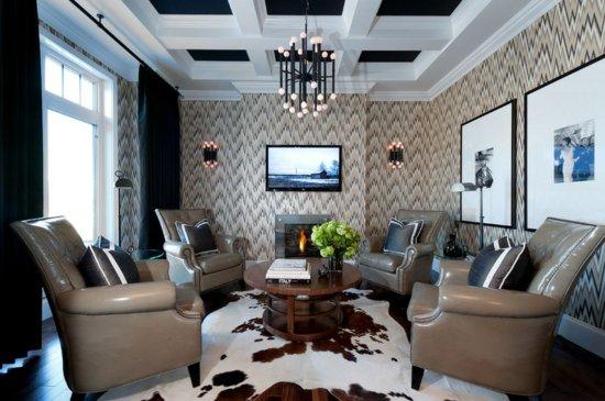 Двухуровневый черно-белый потолок