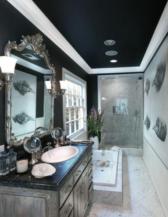 Фото натяжного черного потолка в ванной