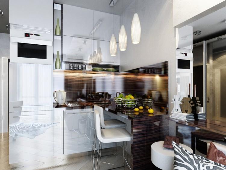 13 Небольшая встроенная кухня с глянцевыми фасадами