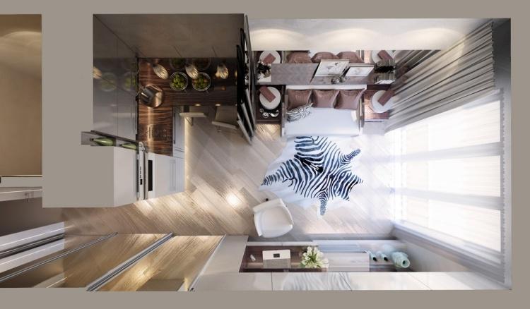 21 современный интерьер квартиры студии 20 кв м вид сверху раздвижная перегородка