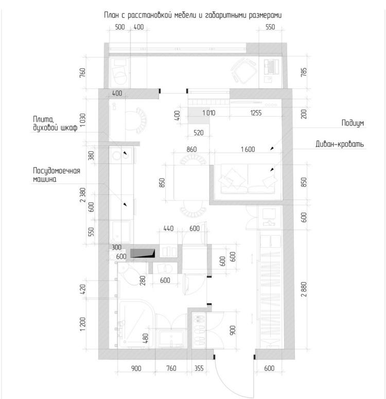 32 план однокомнатной квартиры студии в современном стиле