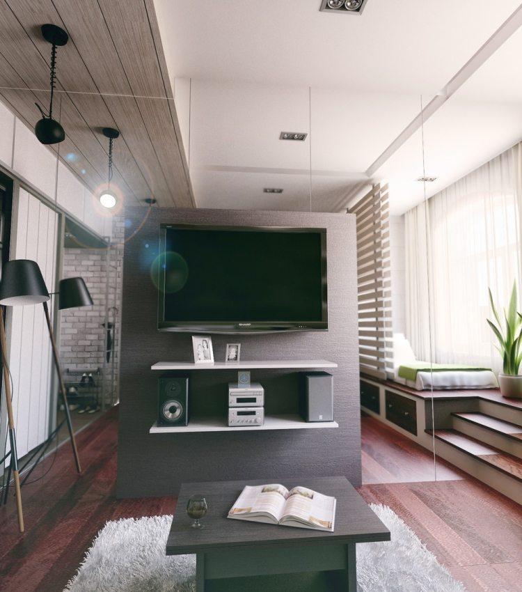 36 интерьер однокомнатной квартиры 21 кв м телевизор зеркальная стена