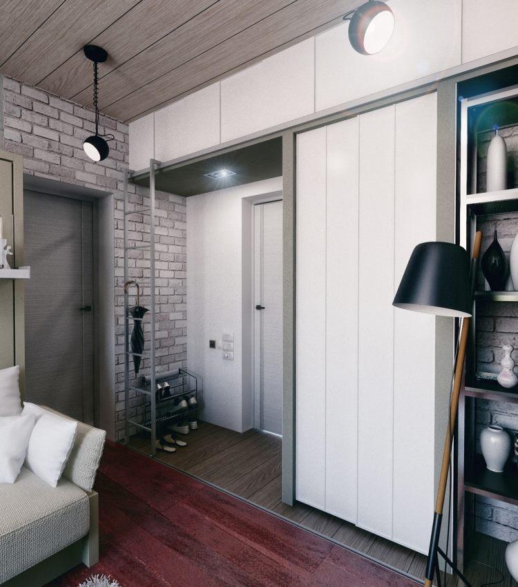 40 дизайн однокомнатной квартиры в хрущевке 21 кв м прихожая встроенный шкаф полки для обуви