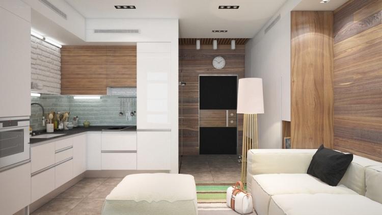 46 дизайн интерьера однокомнатной квартиры студиии 30 кв м дерево белый цвет большой модульный диван