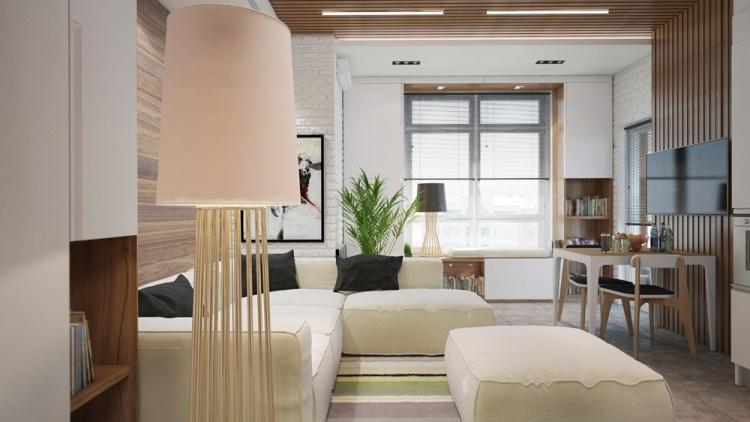 51 дизайн интерьера однокомнатной квартиры студии в хрущевке 30 кв м современный стиль белый модульный диван деревянные стены