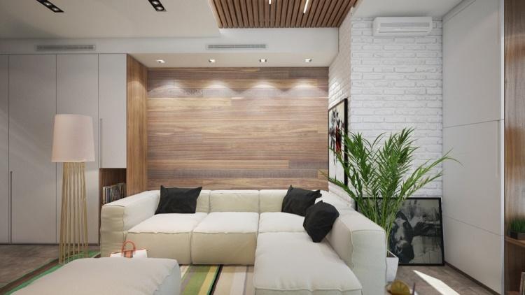 52 дизайн интерьера однокомнатной квартиры студии 30 кв м белый цвет деревянная обивка светлый современный дизайн