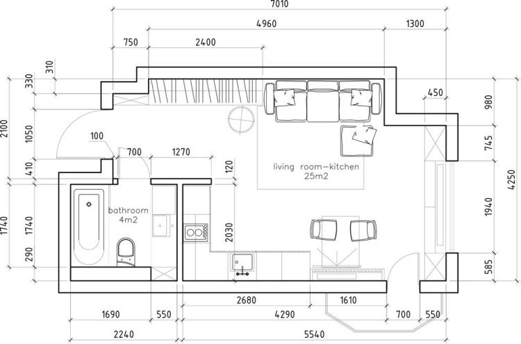 55 дизайн интерьера однокомнатной квартиры студии 30 кв м план