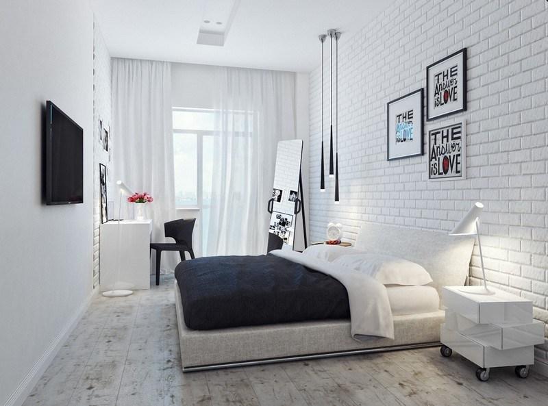 Белая современная спальня в стиле лофт