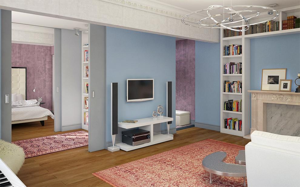 Гостиная в современном стиле книжные полки телевизионная зона камин оригинальная люстра фото