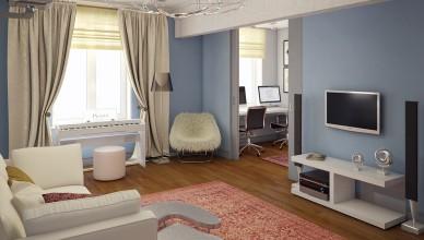 Гостиная в современном стиле паркет необычная люстра серо-голубые стены белое пианино фото