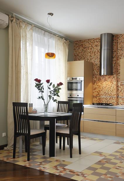Кухня-студия мозаика бежевый фото