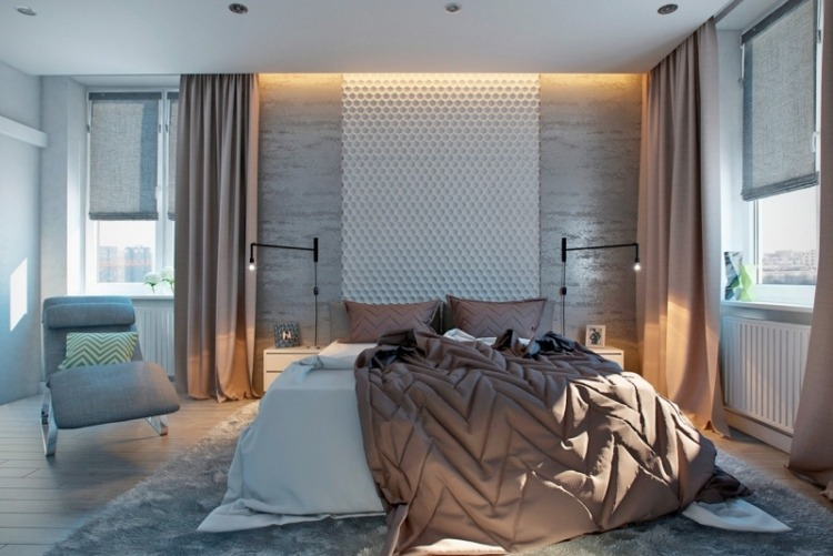 Модный дизайн спальни в серых тонах