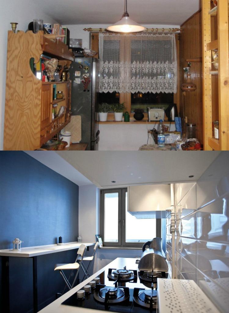 Ремонт кухни до и после фото белая кухня узкая