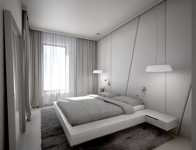 Серая спальня с мягкими стеновыми панелями