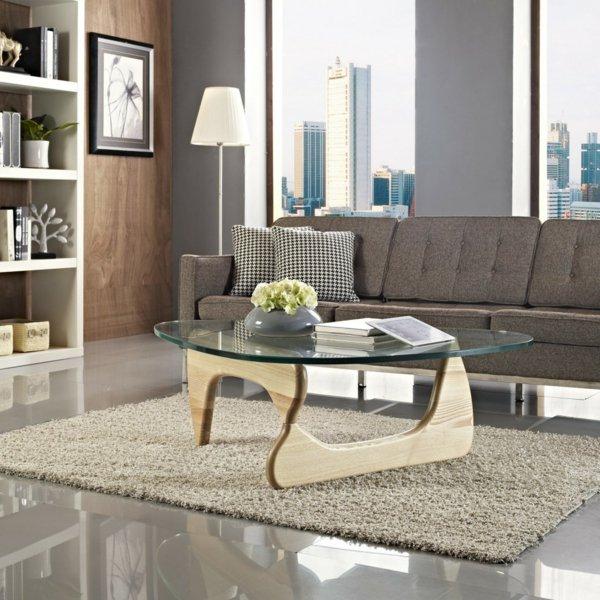 Современный дизайн стеклянного стола для гостиной