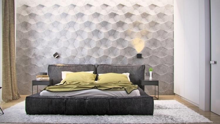 Спальня в сером цвете с рельефными стеновыми панелями