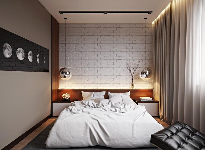 Стильная спальня с кирпичной стеной