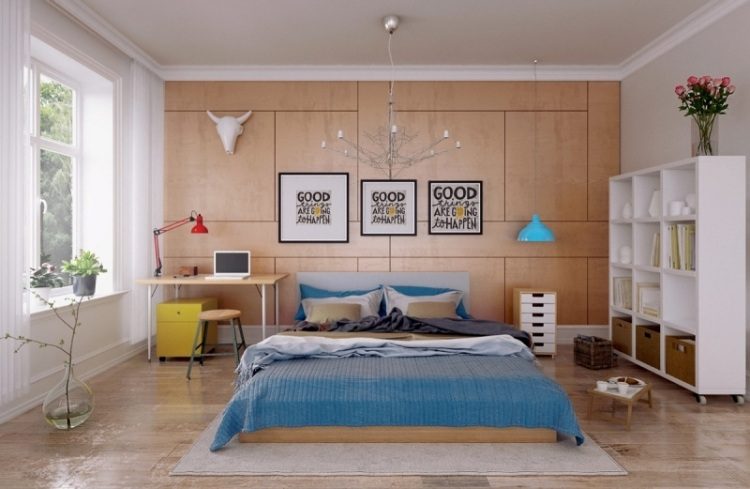 Яркие акценты в спокойном интерьере спальни