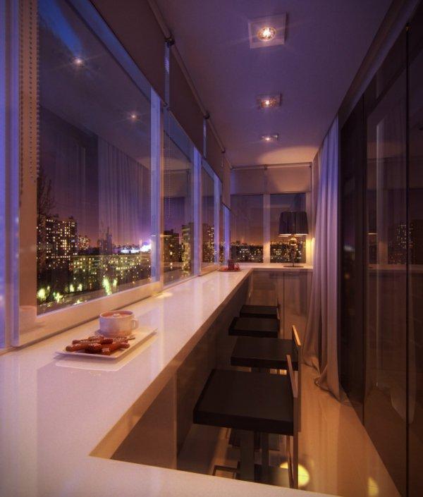 фото Оформление балкона или лоджии в качестве столовой
