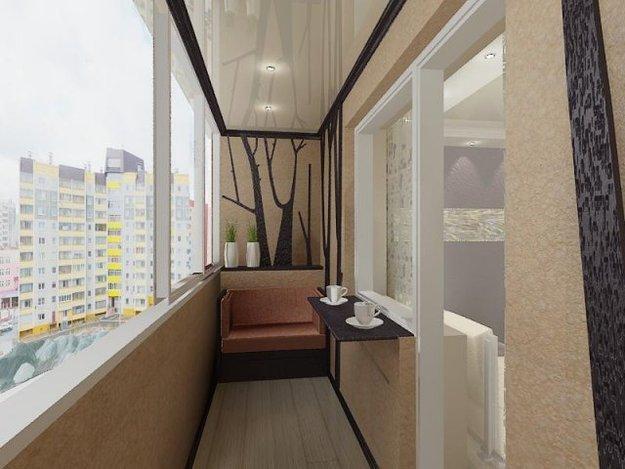 фото Современный дизайн балкона в кофейной гамме