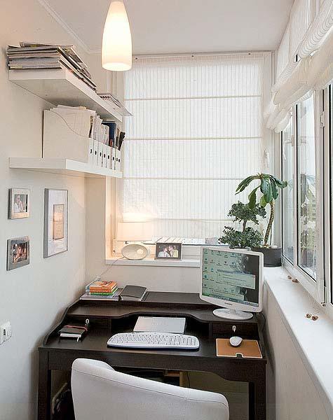 фото Удобный домашний офис на балконе