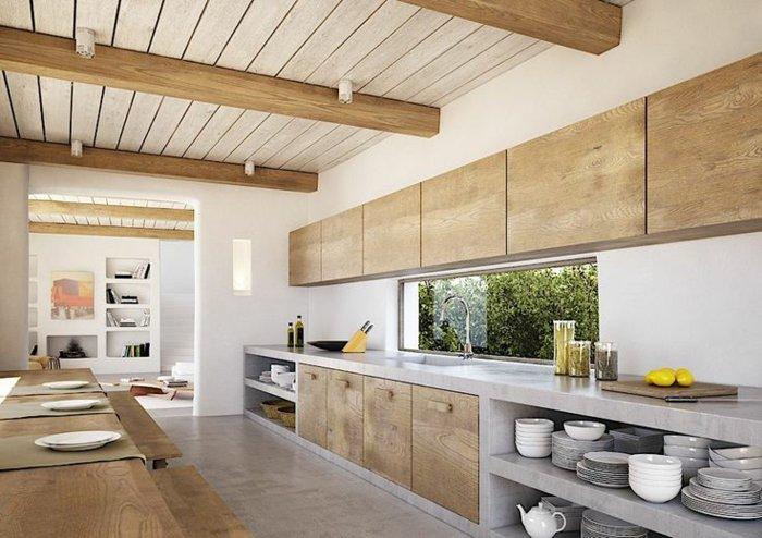 Кухня из массива дуба и натурального камня фото